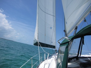 Close hauled and heading northeast on the Sea of Abaco