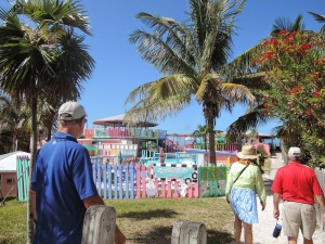 "Approaching ""Nippers"" on Great Guana Island"