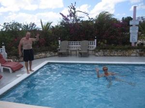 Hayden and Radeen enjoy a dip in the Leeward Marina pool.