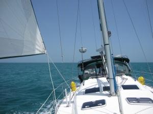 Motor Sailing west on Little Bahama Bank