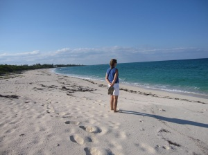 On the beautiful, and usually deserted, beaches of Green Turtle Cay